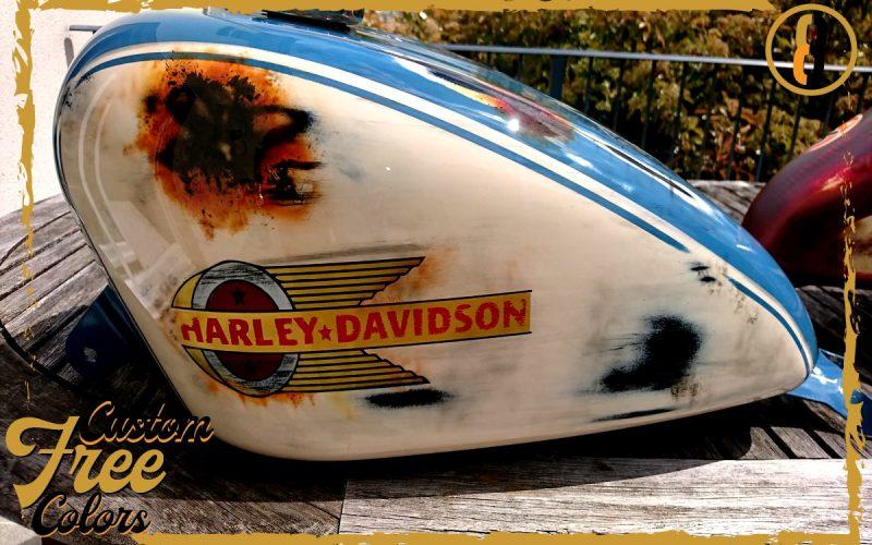 aerographe peinture moto custom3colors harley davidson