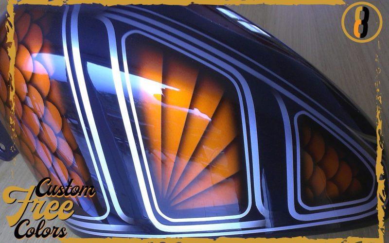 peinture reservoir harley davidson sportster aerographe metal flake custom3colors
